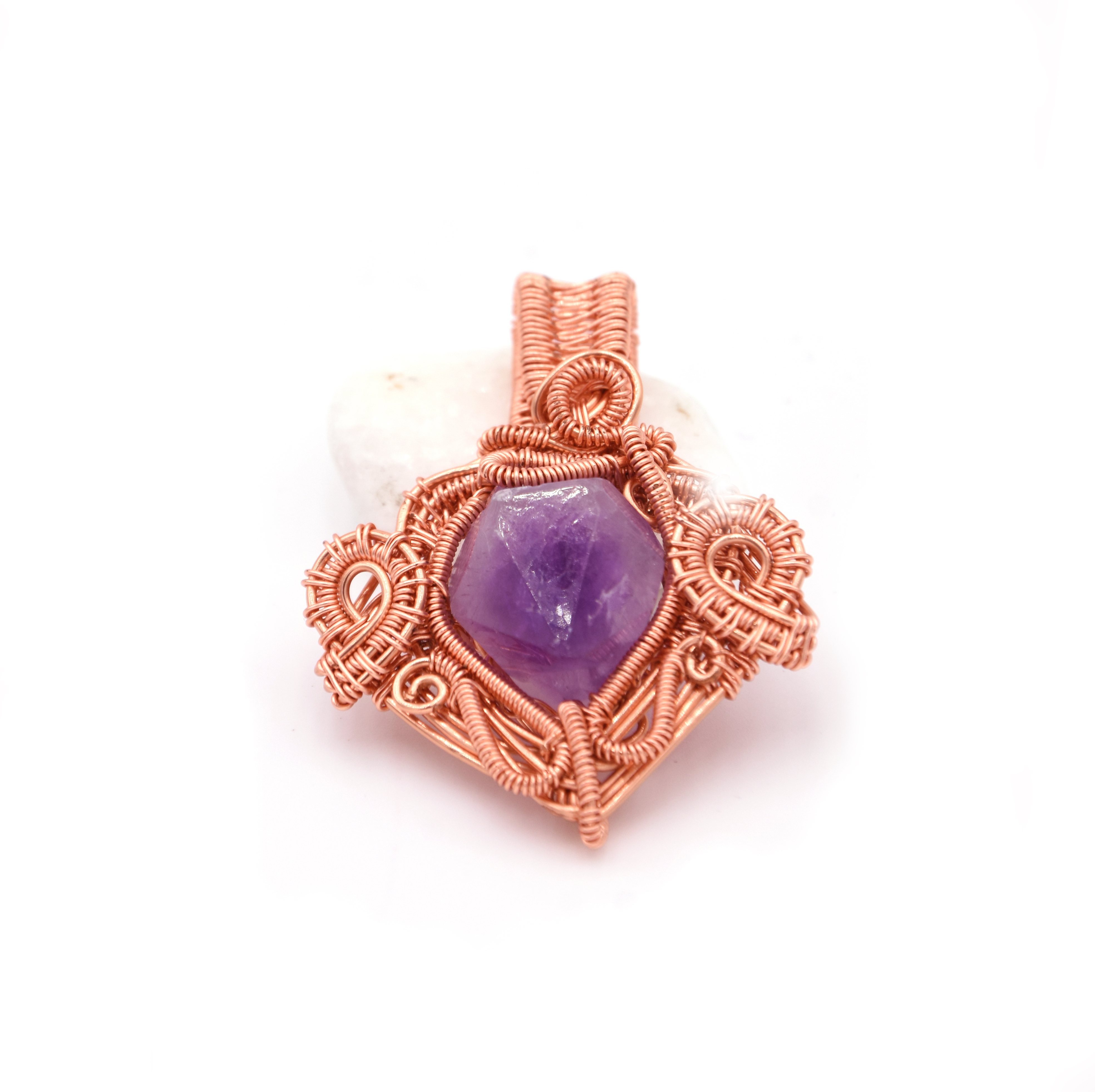 Gabriella Szekely Jewellery - amethyst shard wrapped in copper wire - wire wrapped pendant