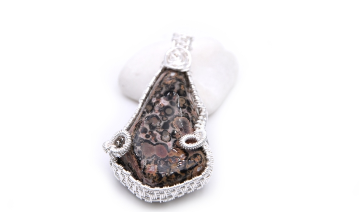 Wire wrapped spotted jasper pendant